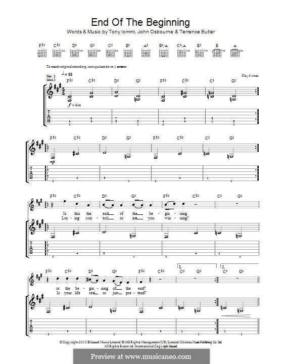 End of the Beginning (Black Sabbath): For guitar with tab by Ozzy Osbourne, Tony Iommi, Terrence Butler