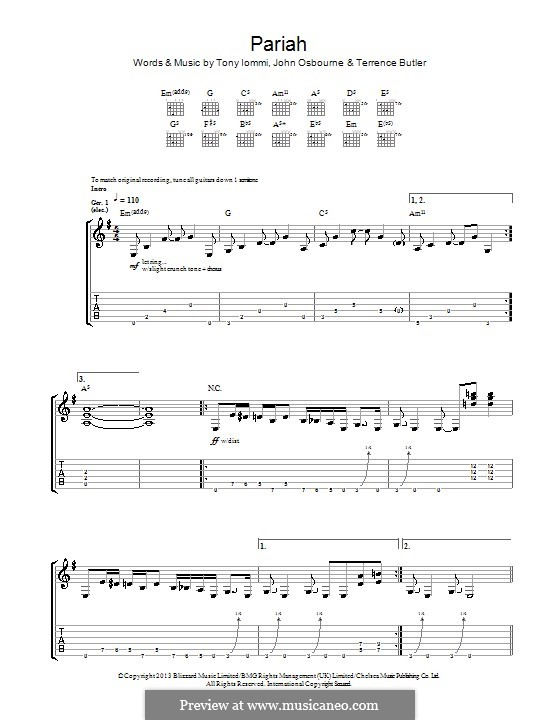Pariah (Black Sabbath): For guitar with tab by Ozzy Osbourne, Tony Iommi, Terrence Butler