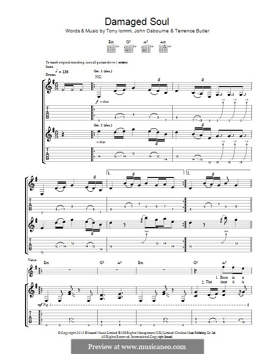 Damaged Soul (Black Sabbath): For guitar with tab by Ozzy Osbourne, Tony Iommi, Terrence Butler