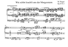 Two Fantasies for Organ, Op.40: No.1 Wie schön leucht't uns der Morgenstern by Max Reger