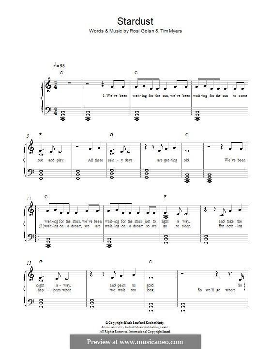 Stardust (Lena Meyer-Landrut): For piano by Rosi Golan, Tim Myers
