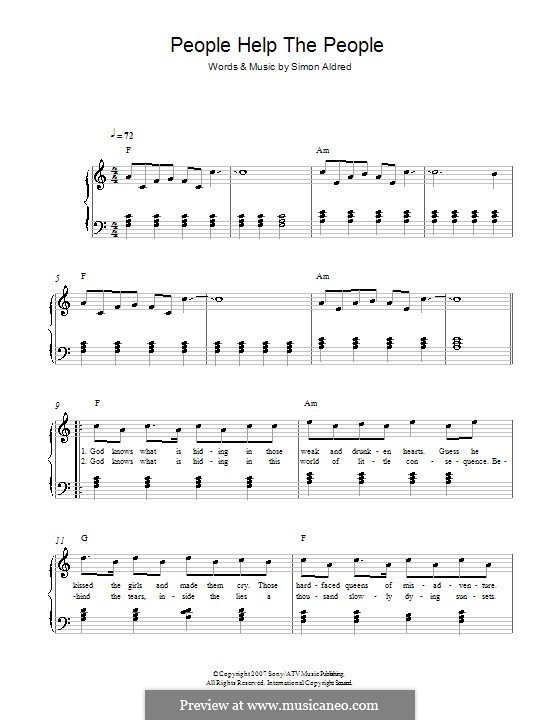 People Help the People: For piano (Birdy) by Simon Aldred