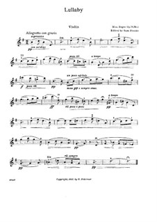 Suite for Violin and Piano, Op.79d: No.1 Lullaby – solo part by Max Reger