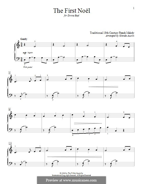 The First Nowell (The First Noël), for Piano: Very easy version by folklore