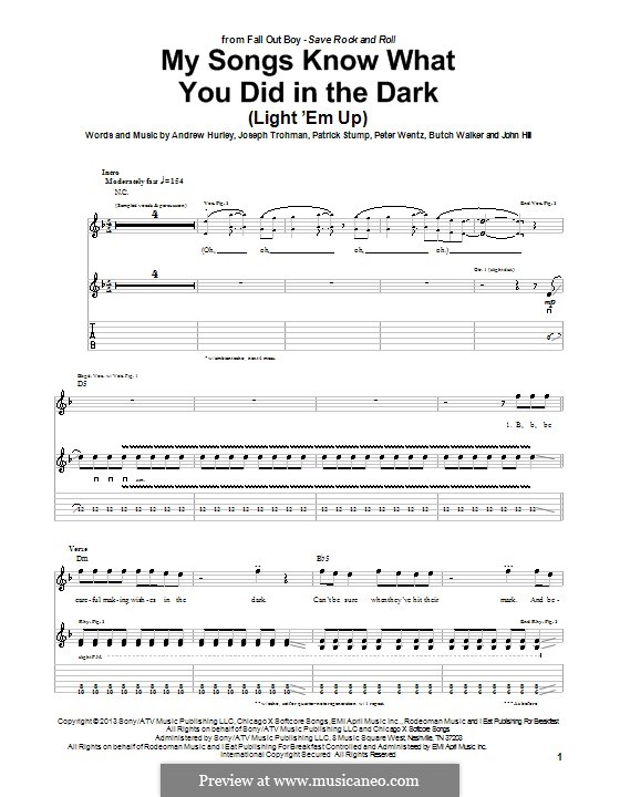 My Songs Know What You Did in ihe Dark (Fall Out Boy): For guitar with tab by Andrew Hurley, Butch Walker, Joseph Trohman, Patrick Stump, Peter Wentz, John Hill