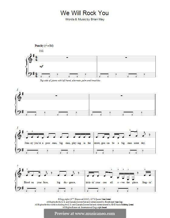 We Will Rock You (Queen): For piano by Brian May