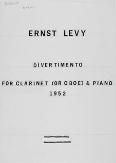 Divertimento for Clarinet or Oboe and Piano: Solo Part by Ernst Levy