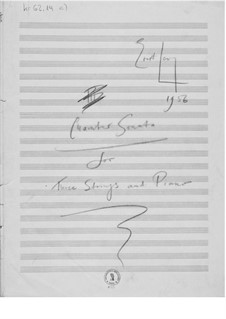 Quartet for Violin, Viola, Cello and Piano: Composer's Sketches by Ernst Levy