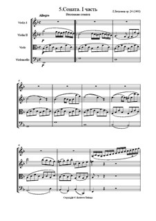 Sonata for Violin and Piano No.5 'Spring', Op.24: Movement I, for string quartet by Ludwig van Beethoven