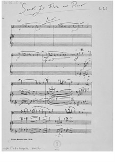 Sonata for Flute and Piano: Full score by Ernst Levy