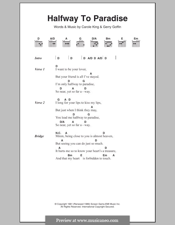 Halfway to Paradise: Lyrics and chords by Gerry Goffin