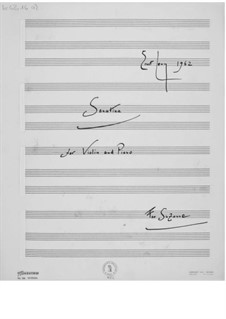 Sonatina No.1 for Violin and Piano: Full score by Ernst Levy