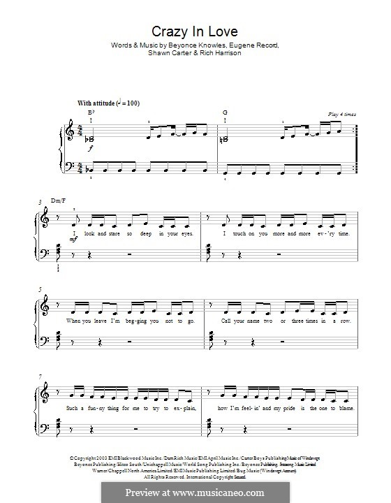 Crazy in Love (Beyonce feat. Jay-Z): For piano by Beyoncé, Rich Harrison, Jay-Z
