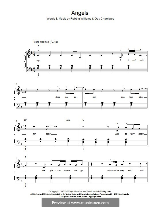 Angels: For piano by Guy Chambers, Robbie Williams