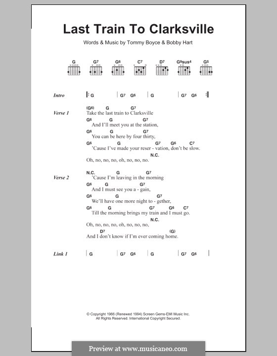 Last Train to Clarksville (The Monkees): Lyrics and chords by Bobby Hart, Tommy Boyce