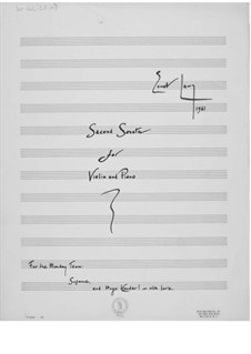 Sonata No.2 for Violin and Piano: Full score by Ernst Levy