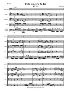 Concerto for Cello and Strings in G Major, RV 413: Score and parts by Antonio Vivaldi