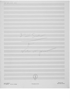 Sonata No.3 for Violin and Piano: Composer's Sketches by Ernst Levy