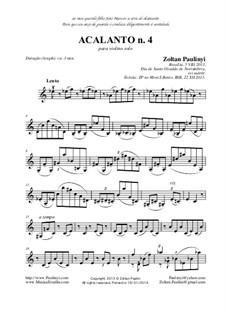 Acalanto (Berceuse): No.4 for solo violin (viola or cello) by Zoltan Paulinyi