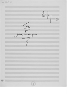 Trio for Flute, Oboe and Piano: Full score by Ernst Levy