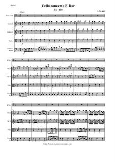 Concerto for Cello and Strings in F Major, RV 410: Score and all parts by Antonio Vivaldi