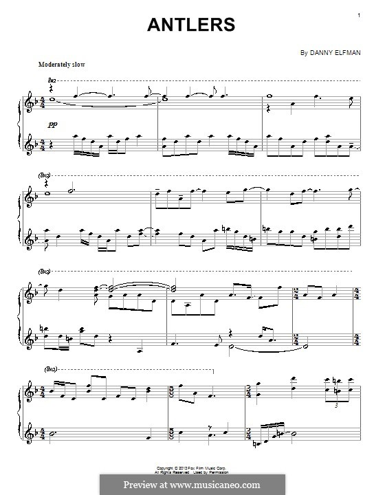 Antlers: For piano by Danny Elfman