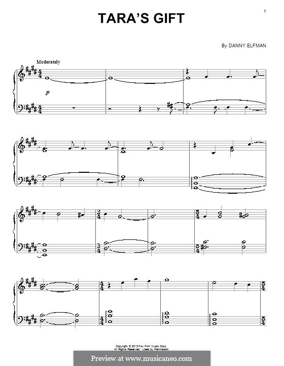 Tara's Gift: For piano by Danny Elfman