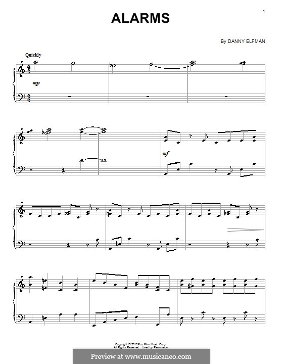 Alarms: For piano by Danny Elfman