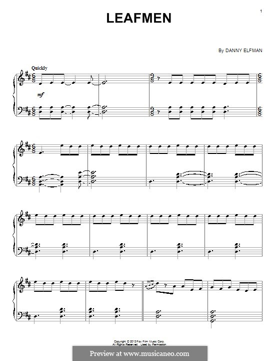 Leafmen: For piano by Danny Elfman
