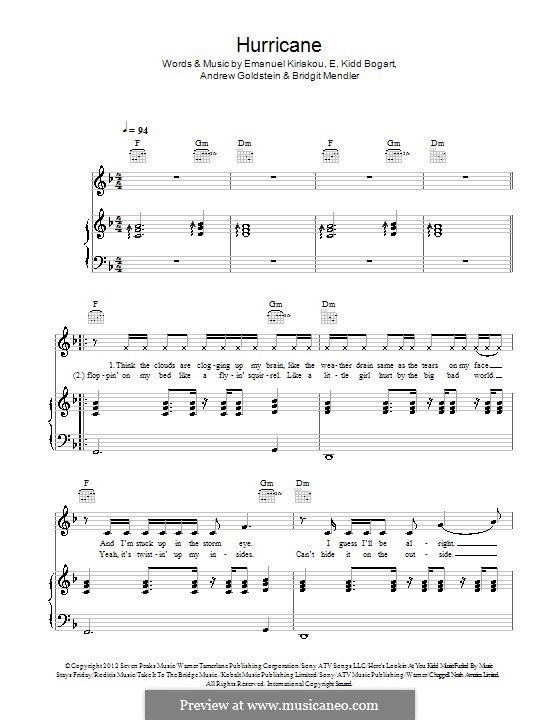 Hurricane: For voice and piano (or guitar) by Evan Kidd Bogart, Emanuel Kiriakou, Bridgit Mendler, Andrew Goldstein