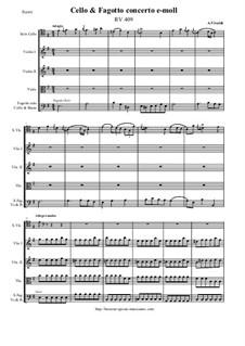 Concerto for Cello, Fagotto and Strings in E Minor, RV 409: Score and all parts by Antonio Vivaldi