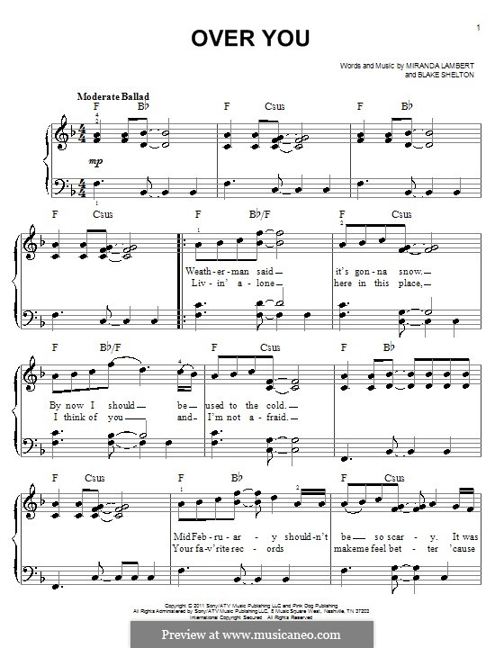 Over You: For piano by Blake Shelton, Miranda Lambert