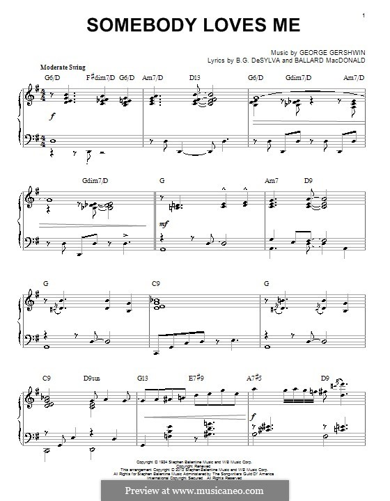 Somebody Loves Me: For piano (jazz version) by George Gershwin