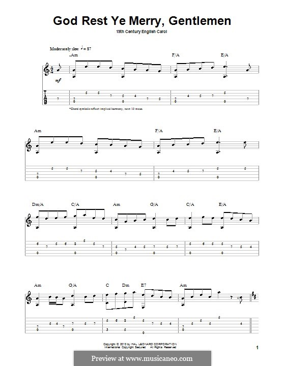 God Rest You Merry, Gentlemen (Printable Scores): For guitar with tab by folklore