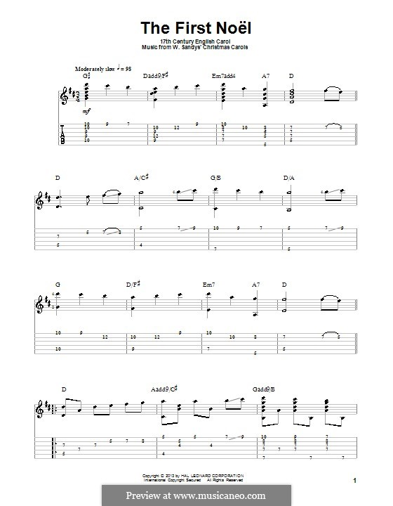 The First Nowell (The First Noël), Printable scores: For guitar with tab by folklore