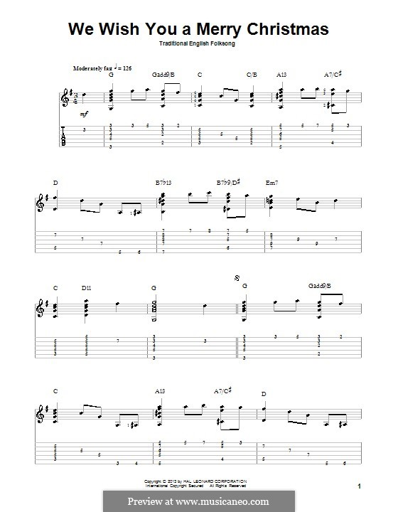 We Wish You a Merry Christmas (Printable Scores): For guitar with tab by folklore