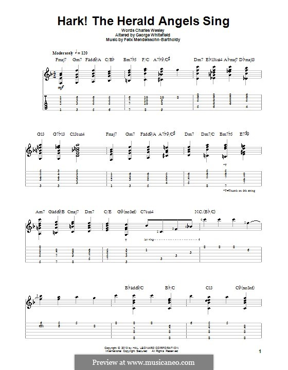For a single performer: Guitar with tab by Felix Mendelssohn-Bartholdy
