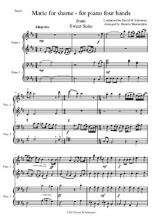 Sweet Suite: Marie for shame for piano four hands by David W Solomons