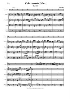 Concerto for Cello and Strings in F Major, RV 411: Score and all parts by Antonio Vivaldi