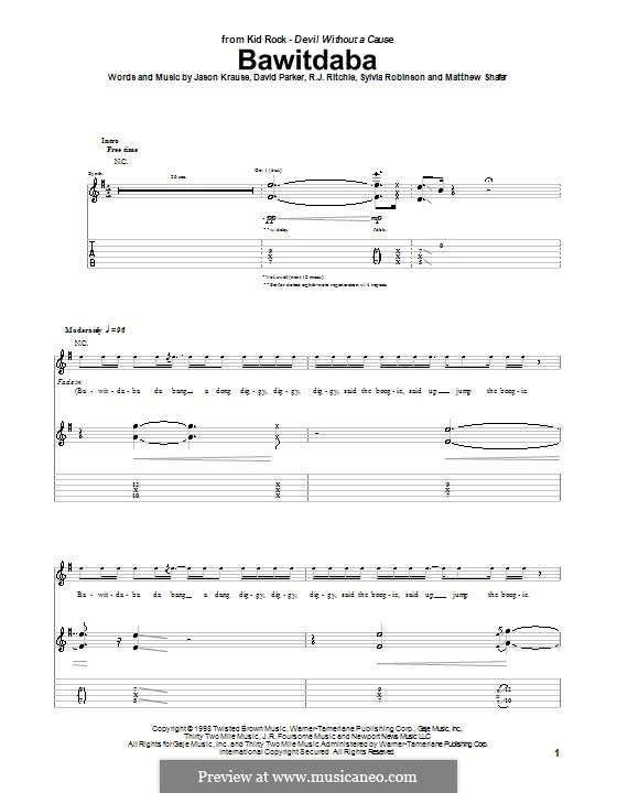 Bawitdaba (Kid Rock): For guitar with tab by David Parker, Jason Krause, Matthew Shafer, R.J. Ritchie, Sylvia Robinson