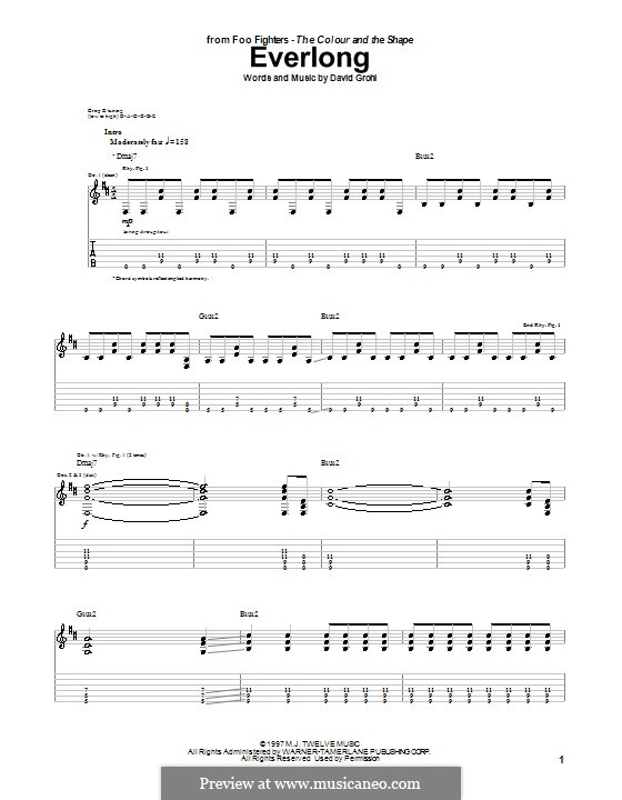 Everlong Foo Fighters By D Grohl Sheet Music On Musicaneo