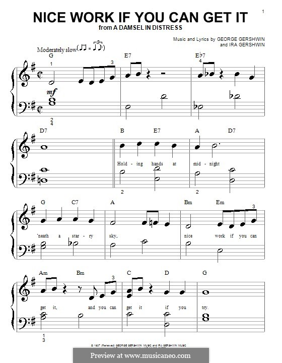 Nice Work if You Can Get It: For piano (Frank Sinatra) by George Gershwin