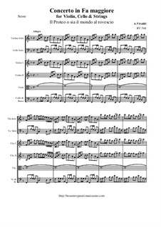 Concerto for Violin, Cello and Strings in F Major, RV 544: Score and all parts by Antonio Vivaldi