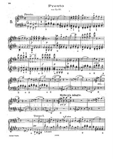 String Quartet No.14 in C Sharp Minor, Op.131: Presto, for piano by Ludwig van Beethoven