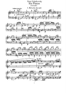 Six Pieces for Piano, TH 133 Op.19: Complete set by Pyotr Tchaikovsky