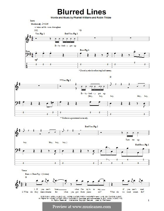 Blurred Lines: For bass guitar by Clifford Harris, Pharrell Williams, Robin Thicke