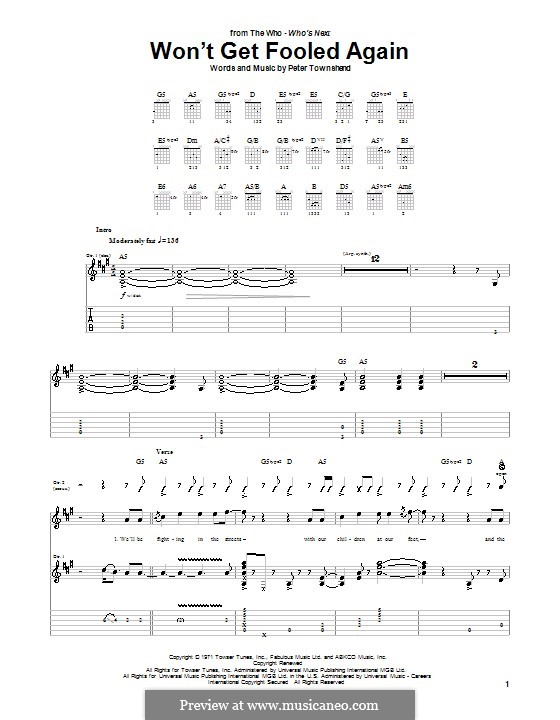 Won't Get Fooled Again (The Who): For guitar with tab by Peter Townshend