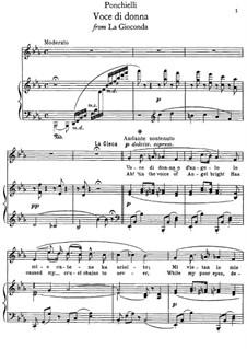 La Gioconda: Voce di donna, for voice and piano by Amilcare Ponchielli