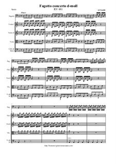 Concerto for Fagotto and Strings in D Minor, RV 481: Score and all parts by Antonio Vivaldi
