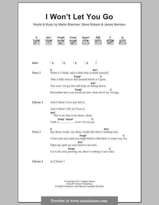 I Won't Let You Go: Lyrics and chords by James Morrison, Martin Brammer, Steve Robson